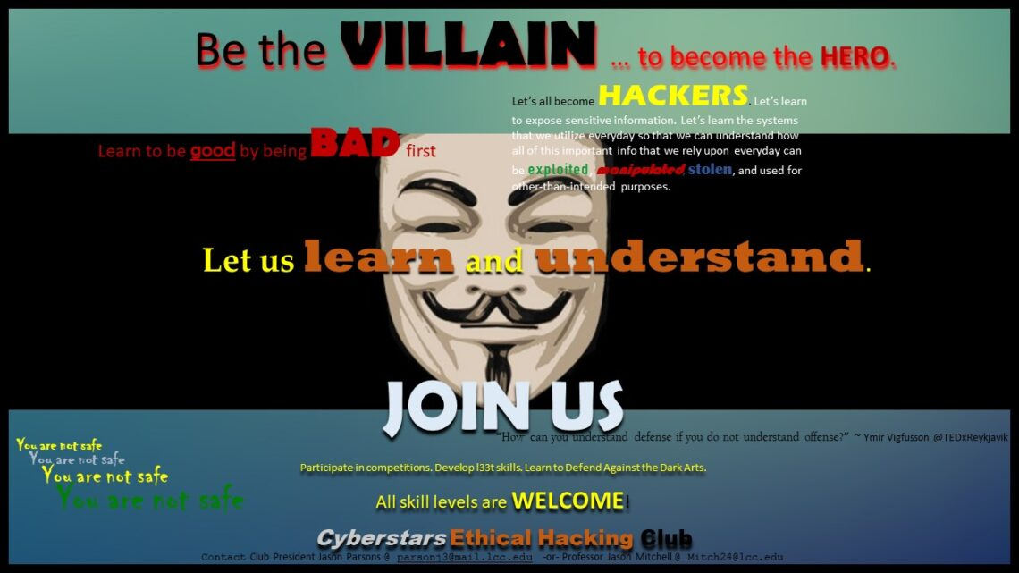 An advertisement created by Jason Parsons for students to join the Cyberstars Ethical Hacking Club.